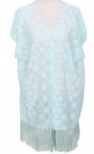 K-F4.1  Beach Poncho with Flowers and Tassels Blue