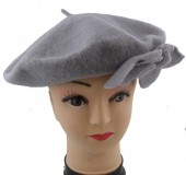 S-F7.1 Trend Woolen Baret With Flowers Grey