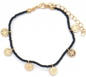 A-F5.1 B2039-018A Bracelet with Glass Beads and Coins Black