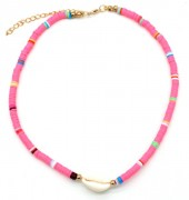 D-C21.2  N1925-009 Choker Surf Beads with Shell 37-43cm Pink