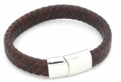 B105-003 Leather Bracelet with Stainless Steel Lock 19cm Brown