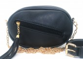 Y-B5.2 BAG534-003A Bum-Shoulder Bag with Tassel and Belt  20x15x5cm Black