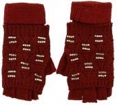S-A4.4 Gloves with open Fingers and Crystals Red