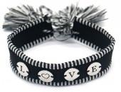 A-B21.3 B2040-004SB Woven Bracelet with S. Steel LOVE Black-Silver