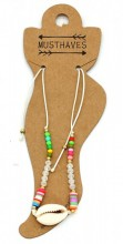 E-A22.2 ANK221-013 Anklet with Beads and Shell White
