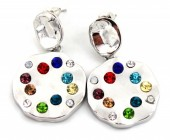 C-B5.4 E426-016 Earrings with Multi Color Crystals 35x20mm Silver