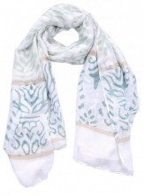 S-H8.1 S312-002 Scarf with Baroque Print 85x180cm Green