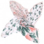 T-F6.2 SC1801-035 Scarf With Tassels Flamingo-Pineapple-Cactus 140x140cm Pink