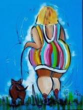 Q-G6.1 X519 Diamond Painting Set Round Full Lady with Dog 40x30cm