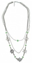 D-F18.4 Metal Necklace with Glass Beads 90cm