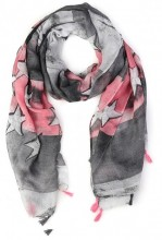 K-D3.1 S107-007 Scarf with Stars and Tassels 85x180cm Grey-Pink