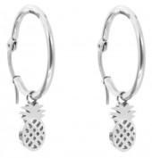 C-B4.6 E015-012SD Stainless Steel Earrings 25mm Pineapple Silver
