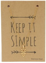 N1759-006 Stainless Steel Necklace Triangles Gold