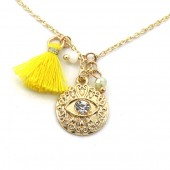 E-D22.3 N532-001G Necklace Tassel and Charm with Eye Gold