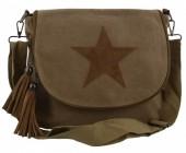 Q-L8.2 BAG017-001 Kakhi Canvas Crossy Body Bag 31x27x9cm