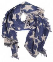 Y-D3.1 S109-001 Soft Thick Scarf with Stars 63x180cm Blue