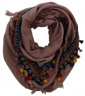 X-M8.1  Bohemian Style Scarf with Tassels 180x90cm Pink