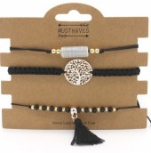 E-E3.1 B019-001 Bracelet Set 3pcs with Tassel Black