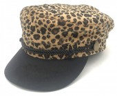 T-I6.2 HAT402-002 Soft Sailor Cap with Animal Print Brown