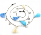 B-B17.3 GL291 Sunglass Chain with Coins and Tassels Beige-Blue