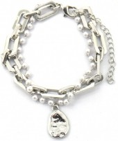 E-C17.3 B2019-002S Metal Chain Bracelet with Pearls Silver
