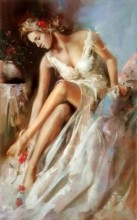 S-E1.4 Q167 Diamond Painting Set Girl in Dress 20x30cm