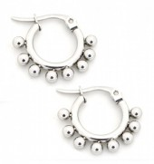 A-A7.2  E1264-004SS Stainless Steel Earrings with Dots 10mm Silver