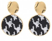 A-D5.3 E006-005 Earrings with Animal Print Gold-Black