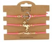 F-F19.1  B316-044 Bracelet Set 3pcs Flamingo-Anchor-Cross Pink