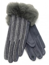 R-M3.1 GLOVE403-069D Gloves Rib Fabric and Faux Fur Grey
