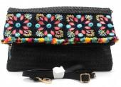 L-B3.1 BAG115-001 Ibiza Style Bag Woven Wicker Black 19x28cm Flap Over