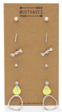 F-A18.1 E426-020 Earring Set 6 pairs Silver