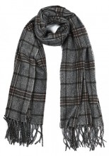 Z-F2.2 SCARF407-003B Soft Checkered Scarf 180x68cm Grey