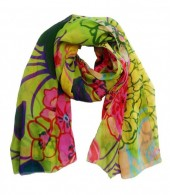 R-P6.1 Pareo Scarf Flowers 170x100cm Green