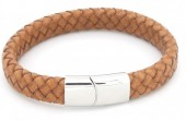 B105-002 Leather Bracelet with Stainless Steel Lock 21cm Light Brown