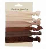 B-F22.2   Hairtie 6pcs H008-009 Brown-Glitter
