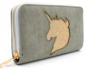 Q-L2.1 WA117-009 PU Wallet with Glitter Unicorn 19x10cm Grey