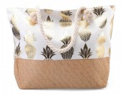 BAG217-003 Beach Bag with Wicker and Metallic Pineapple Print 54x40cm White-Gold
