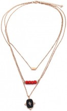 C-B6.1  N2020-005RG S. Steel Layered Necklace 15mm charm Rose Gold