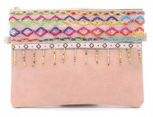 S-J2.2 BAG115-002 Ibiza Clutch with Long Shoulder Strap Pink