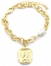 C-E20.4 B2019-004G Chain Bracelet with Pearl and Coin Gold