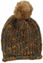 T-I3.1 Spotted Beanie with Fake Fur Pompon Brown
