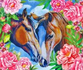 R-K3.2 GM1055 Diamond Painting Set Horses 50x40cm
