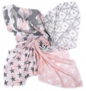 T-D7.1 S001-002 Scarf with Stars-Hearts and Camouflage 140x140cm Pink