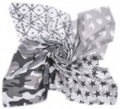 T-D3.1 S001-002 Scarf with Stars-Hearts and Camouflage 140x140cm Grey