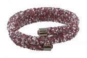 F-C5.1   Double Crystal Bangle B001ST-002 Silver Pink