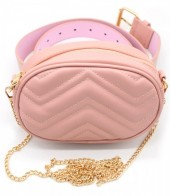 Y-F4.5 BAG212-002 Combination Bum-Shoulder Bag incl Belt 19x12x7cm Pink
