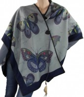 Z-F8.1 Soft Poncho with Feather and Butterflies Grey