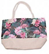 BAG119-005 Beach Bag Flamingo Flowers