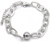 A-B5.4 B014-006S S. Steel Chain Bracelet with Ball Silver